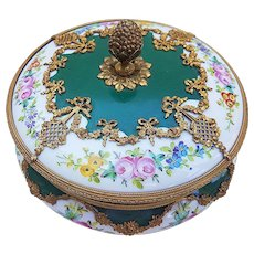 "Beautiful & Striking Vintage France 1800's Hand Painted ""Garden Flowers"" 7"" Heavy Gold & Brass Fitted Ormolu Floral Dresser Box"