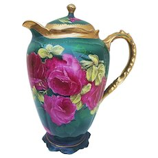"""Wonderful 1900's O.E.& G Royal Austria 1900's Hand Painted Roses DuBarry """"Deep Red Roses"""" 9"""" Floral Chocolate Pot, by the Artist, """"Martin"""""""