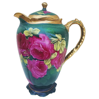 "Wonderful 1900's O.E.& G Royal Austria 1900's Hand Painted Roses DuBarry ""Deep Red Roses"" 9"" Floral Chocolate Pot, by the Artist, ""Martin"""