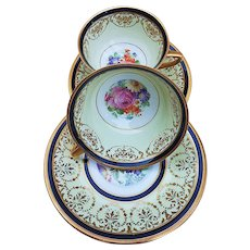 """Beautiful Heinrich & Co. Selb Bavaria 1920's Hand Painted """"Wild Flowers"""" Pair of Cups & Saucers by """"Hollands Studio of Chicago"""""""