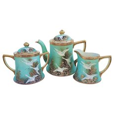 "Splendid Nippon 1900's Hand Painted ""Flying White Swans"" Heavy Gold & Jewel 5 Pc Tea Set"