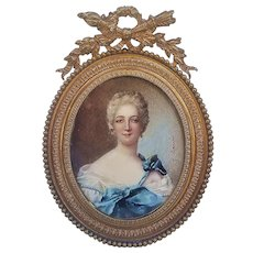 """Beautiful Vintage France 1800's Hand Painted """"French Mademoiselle"""" 5-1/4"""" Portrait, in Fancy Frame, by the Artist, """"H. Derrio"""""""