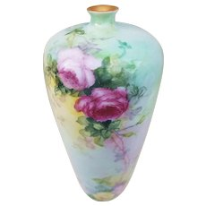 """Outstanding Rosenthal Bavaria Vintage 1905 Hand Painted """"Red, Pink, & Yellow Roses"""" 9"""" Floral Vase by the Artist, """"E.K."""""""