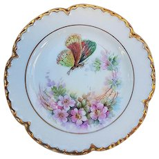 "Gorgeous Havilland France 1900's Hand Painted ""Butterfly & Wild Pink Roses"" Vintage Rococo Style Floral Plate by the Artist, Hanvey"