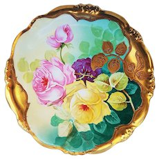 "Fabulous Vintage H.C.F. Koch & Co & Elite France Limoges 1900's Hand Painted ""Pink & Yellow Roses"" 9-1/8"" Heavy Leaf Gold Floral Plate by Artist, ""Madame Lili"""