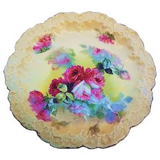 "Stunning Vintage A. Lanternier Limoges France 1900's Hand Painted Vibrant ""Deep Red & White Roses"" Fancy Scallop Floral Plate by Artist, ""Rilt"""