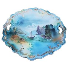 "Gorgeous RS Prussia 1900's ""Man In the Mountain"" 11"" Scenic Scallop Plate"