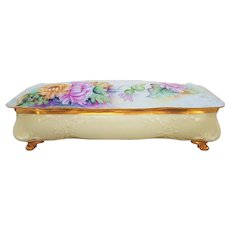 "Fabulous 13"" T & V Limoges France 1900's Hand Painted ""Pink & Yellow Mums"" Footed Floral Glove Box"