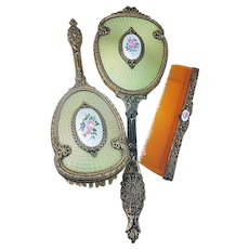 "Beautiful 1920's Faux Guilloche Enamel Light Green Colored 3-Pc Hand Mirror & Brush Set With Hand Painted ""Pink Roses & Violets"" Medallion Inserts"