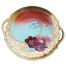 "Outstanding Vintage Limoges France 1910 Hand Painted ""Burnt Orange Poppy"" 11"" Floral Plate by Pickard Artist, ""Otto Schoner"""