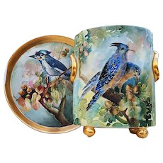"""Exceptional H & Co. Selb Bavaria 1900's Hand Painted """"BlueJays Sitting In An Oak Tree"""" 10-3/8"""" Footed Scenic Cache Pot, by """"M. Fischer"""""""