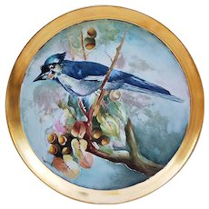 "Beautiful Vintage Limoges France 1900's Hand Painted ""BlueJay Sitting In An Oak Tree"" 11-1/8"" Scenic Tray by Artist, ""T. Moritz"""
