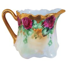 """Gorgeous Vintage Limoges France 1900's Hand Painted """"Deep Red Roses"""" Floral Cream Pitcher by Artist, """"J. Gates"""""""