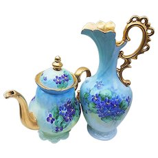 "Fabulous 13-3/4"" Osborne Studio of Chicago Vintage 1928 Hand Painted ""Violets"" Floral Ewer in 22K Gold by ""Asbjorn Osborne"""