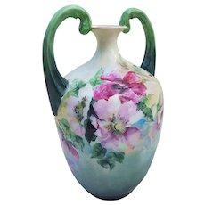 "Splendid Vintage Bavaria 1900's Hand Painted ""Red & Pink Wild Roses"" 8"" Floral Muscle Vase"