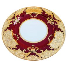 "Outstanding Vintage Minton England Pre-1900 Hand Painted Red & Heavy Etched Gold 10-1/4"" Dinner Plate Made Especially For Gilman Collamore & Co., New York"