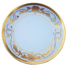 "Attractive D & C France & Pickard Studio of Chicago 1905 Hand Painted Etched Floral Gold 12-1/4"" Chop Plate by Artist, """"Franz Vobornik"""