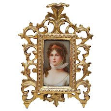 "Exquisite Vintage Pre-1900 German Hand Painted Portrait of ""Queen Louise of Mecklenburg-Strelitz Prussia"" 8"" x 6"" Plaque From A Painting by Gustav Carl Ludwig Richter"