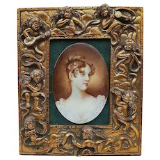 """Beautiful Vintage Germany Pre-1900 Hand Painted """"Portrait Of A Maiden"""" 11"""" x 9"""" Plaque in Frame of 8 Blown out Putti Musicians"""
