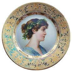 "Magnificent Royal Vienna 1900's Hand Painted ""Maiden Crowned with Laurel Leaf"" 9-1/4"" Portrait Plate by the Artist, ""Greiner"""