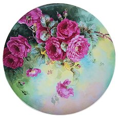 """Magnificent Victorian J.P.L. France Limoges 1900's Hand Painted Vibrant """"Deep Red Roses"""" Vintage Floral Plaque by the Artist, """"Mr. Proteck"""""""