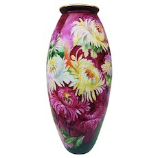 "Fabulous & Vibrant Vintage D & Co. France Limoges 1900 Hand Painted ""Red, Pink, White, & Yellow Chrysanthemums"" 15"" Floral Vase by the Artist, ""E. Lang"""