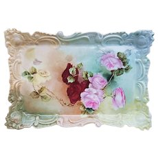"""Stunning Leonard Vienna Austria Vintage 1900's Hand Painted Vibrant """"Red, Pink, & Yellow Roses"""" 11-3/4"""" Fancy Scallop Floral Tray by Artist, """"R.W.J."""""""
