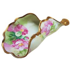 """Outstanding Vintage Old Abbey Limoges France 1900's """"Pink Poppy"""" 8-3/4"""" Horn Shaped Ladies Floral Spittoon by French Artist, """"Manet"""""""