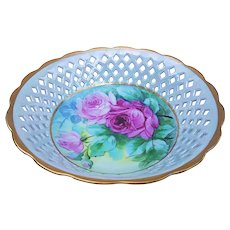 "Breathtaking Bavaria 1900's Hand Painted Vibrant ""Red & Pink Roses"" Fancy Lattice Cut Out Floral Bowl"