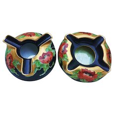 "Gorgeous & Vibrant Vintage Favorite Bavaria 1900's Hand Painted Pair of ""Deep Burnt Orange Poppy"" Floral Ash Trays"