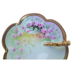 """Outstanding Vintage Bavaria & Osborne Studio of Chicago 1900's Hand Painted """"Petite Pink Roses"""" Floral Nappy by Artist, """"Asbjorn Osborne"""""""