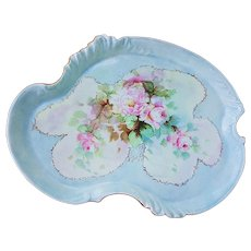 "Splendid Vintage William Guerin Limoges France 1900's Hand Painted ""Soft Pink Roses"" 12-3/4"" Floral Dresser Tray"