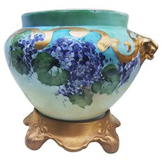 """Outstanding Vintage Vienna Austria 1900's Hand Painted """"Violets"""" Floral Jardiniere & Plinth with Lion Handles"""