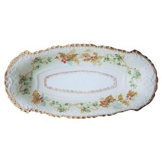"""Fabulous Vintage Old Ivory Omhe Silesia 1900's Hand Painted """"Holly & Berry with Christmas Flowers"""" 11-3/4"""" Floral Tray"""