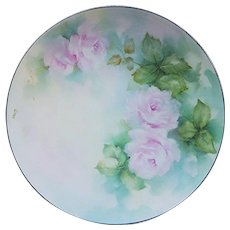 """Gorgeous Lenox China 1900's Hand Painted """"Soft Pink Roses"""" 10"""" Floral Plate by the Artist, """"Anne"""""""
