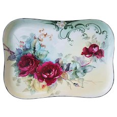 "Wonderful Vintage Limoges France 1900 Hand Painted ""Deep Red & Yellow Roses"" 11-3/8"" Floral Tray"