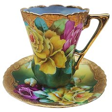 """Simply Gorgeous Vintage Nippon 1900's Hand Painted Vibrant """"Red & Yellow Roses"""" Chocolate Cup & Saucer with Brilliant Gold Gilding"""
