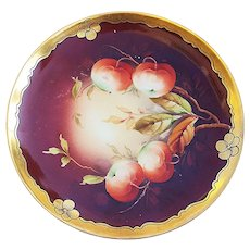 "Stunning Haviland France & Pickard Studio of Chicago 1900's Hand Painted ""Apples"" Fruit Plate by Listed Artist, ""Leon"""