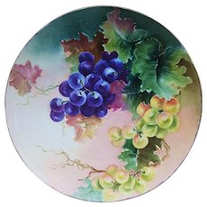 """Exceptionally Decorated Bavaria 1900's Hand Painted """"Purple & Green Grapes"""" 8-1/2"""" Fruit Decor Plate by Artist, """"K. Shnivea"""""""