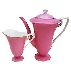 Crème de la Crème Royal Worcester Pre-1890 Hand Painted Fuscia Tea Pot & Creamer Made Especially for Spaulding & Co. of Chicago