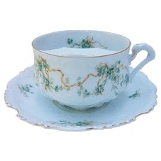 """Outstanding Omhe Germany 1900 Hand Painted """"Ribbon & Petite Flowers"""" Floral Mustache Cup & Saucer"""