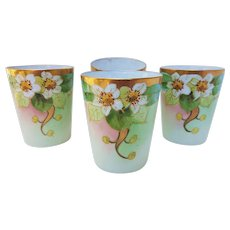 "Keates Art Studio of Chicago 1912 Hand Painted ""Apple Blossoms"" Set of 4 Cider Pitcher Floral Tumblers by Pickard Artist, ""Alfred Keates"""