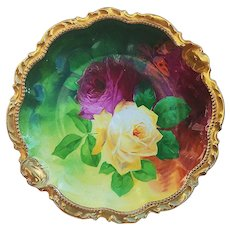"Fabulous Vintage Limoges Coronet France 1900 Hand Painted Vibrant ""Red & Yellow Roses"" 9"" Rococo Style Floral Plate by Listed Artist, ""A. Bronssillon"""