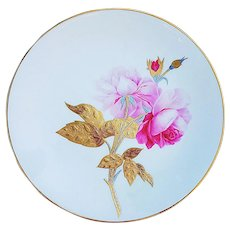 "Minton Vintage 1870's Hand Painted Lifelike ""Pink Roses"" with Gold & Silver Overlay 9-1/2"" Floral Plate Made for Davis Collamore & Co., New York"