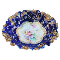 "Fabulous Vintage RS Prussia 1900 ""Wild Flowers & Blown Out Gold Roses"" 10-1/2"" Cobalt Blue Fancy Scallop Floral Bowl"