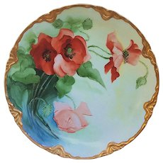 "Stunning JC Bavaria 1900's Hand Painted ""Burnt Orange Poppy"" 8-3/4"" Scallop Floral Plate by Artist, ""Lily A. Maitson"""
