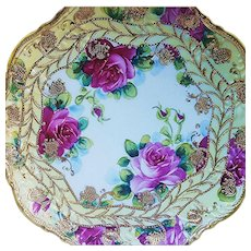 "Exceptional Vintage Nippon 1900's Hand Painted ""Red & Pink Roses"" Floral & Heavily Beaded Plate"