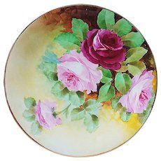 "Beautiful Vintage Limoges France 1900's Hand Painted ""Red & Pink Roses"" 9"" Floral Plate"