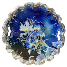 "Phenomenal Vintage RS Prussia 1900 Irises Outlined in Gold 11"" Cobalt Blue Stipple Mold Floral Plate"