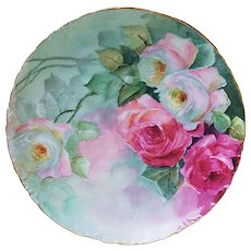"""Simply Gorgeous Rosenthal Bavaria vintage 1900 Hand Painted """"Red & White Roses"""" 8-1/2"""" Floral Plate"""
